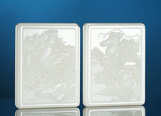 苏然 和田玉籽料山水诗文对牌    9.5×7.5×1.6cm 287g 9.5×7.5×1.6cm 282g